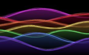 Picture wave, line, background, paint, rainbow