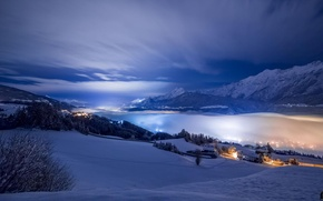 Picture winter, snow, mountains, night, valley, haze