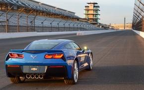 Picture blue, Corvette, Chevrolet, Chevrolet, back, Stingray, Pace Car, Indy 500, car security