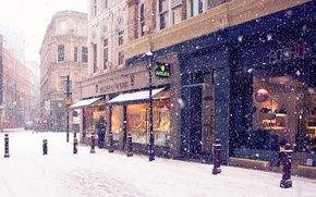 Wallpaper winter, snow, the city, street, Europe, stores