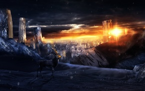 Picture clouds, Apocalypse, deer, art, the ruined city
