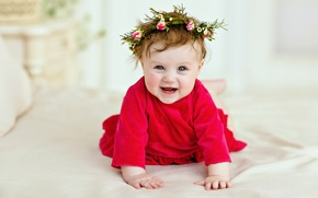 Picture smile, child, dress, girl, wreath, baby, Smile, child, kid, Infants