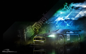 Wallpaper the storm, machine, clouds, Aston Martin