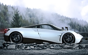 Picture Pagani, White, Side, Road, Supercar, To huayr, Fog, Forest