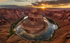 Picture landscape, river, height, canyon, Arizona, Horseshoe Bend in Paige