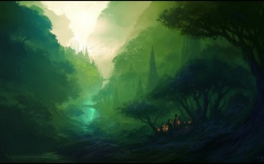 Picture forest, mountains, lights, river, people, art
