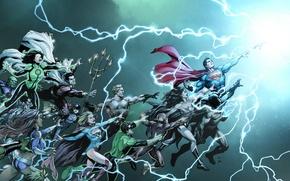 Picture fantasy, Wonder Woman, Batman, lightning, art, comics, Green Lantern, Superman, cover, artwork, superheroes, Arrow, DC …