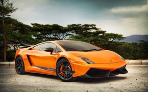 Picture road, the sky, trees, street, orange, Parking, gallardo, lamborghini, drives, Lamborghini, lp570-4, supergamer, Gallardo, лп570-4, …