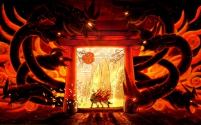 Picture the sun, mountains, flame, wolf, dragons, Sakura, cave, deity, Okami, Amaterasu