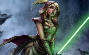 Picture girl, rain, star wars, Jedi, lightsaber
