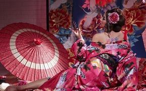 Picture pose, style, umbrella, Japanese, tube, geisha, kimono, Asian