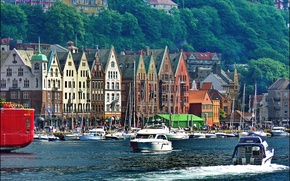 Picture river, shore, home, yachts, boats, pier, Norway, boats, promenade, Mountains