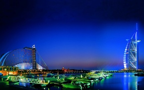 Picture Dubai, twilight, evening, Burj Al Arab, boats, Jumeirah Beach Hotel