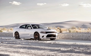 Picture white, photo, Dodge, car, metallic, Charger, 2015, SRT Hellcat