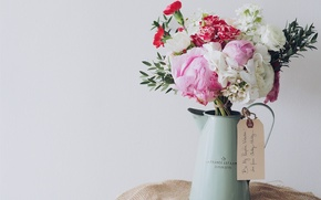 Picture flowers, bouquet, kettle, vase, old
