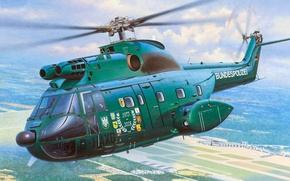 Picture figure, art, Puma, French medium transport helicopter, Sud-Aviation, Aerospace, SA.330, Federal police