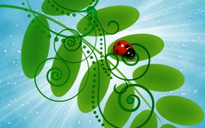 Picture the sky, leaves, rays, vector, branch, stars, ladybug