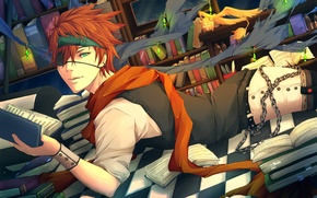 Wallpaper books, scarf, art, chain, headband, crystals, guy, d.gray-man, lying, uyre, lavi, timcanpy