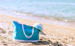 Picture sea, beach, summer, stay, vacation, hat, bag, vacation