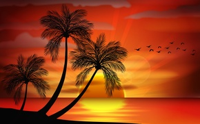 Picture sea, sunset, palm trees, vector, island, silhouette, sea, sunset, island, paradise, palms, tropical