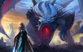 Picture girl, dragon, wings, sword, fantasy, art, mouth, cloak