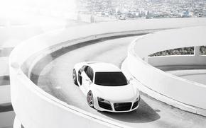 Picture white, the city, Audi, Audi, Parking, white, Blik