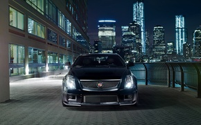 Picture night, the city, lights, black, Cadillac, before, black, CTS-V, Cadillac