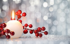 Picture berries, candle, New Year, Christmas, Christmas, New Year, decoration