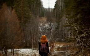 Wallpaper forest, bokeh, the red-haired girl, autumn.snow