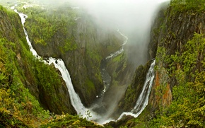 Picture trees, mountains, fog, river, rocks, waterfall, stream, Norway, norway