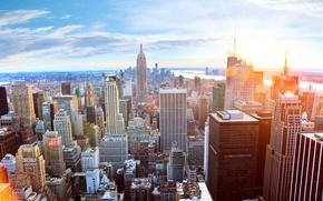 Picture sunset, city, dawn, beauty, skyscrapers, USA, hot, New York, New York, amazing, beautyful