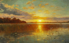 Picture picture, Peder Monsted, reflection, trees, clouds, the sun, the sky, river, landscape, sunset