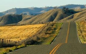 Wallpaper road, field, landscape