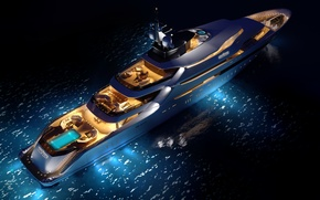 Wallpaper superyacht, yacht, oceAnco, concept, sea, Y708, upview, night