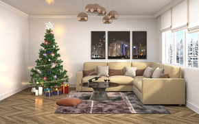 Picture Sofa, New Year, Tree, tree, Chandelier, Interior, render, Holidays, Gifts
