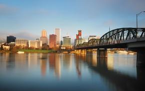 Picture bridge, the city, architecture