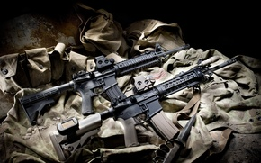 Picture knife, fabric, bags, 2 pieces, AR-15, Machines, assault rifles