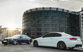 Picture BMW, Tuning, White, Blue, BMW, white, Drives, blue, E92, Deep Concave