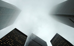 Wallpaper fog, home, skyscrapers, the city