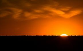 Picture the sun, sunset, horizon, glow