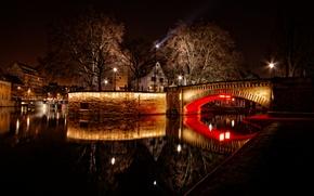 Picture night, bridge, lights, river, France, home, Strasbourg