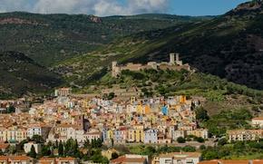 Picture mountains, castle, home, Italy, Sardinia, Bosa