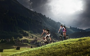 Picture mountains, nature, woman, Alps, male, cyclists, tourists