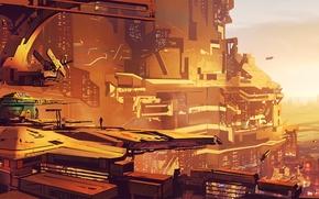 Picture the sky, the city, horizon, future, Sci fi cityscape