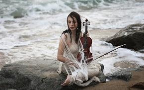 Wallpaper sea, girl, shore, violin