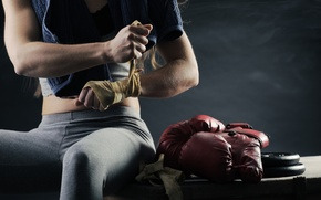 Picture girl, sport, Boxing, gloves