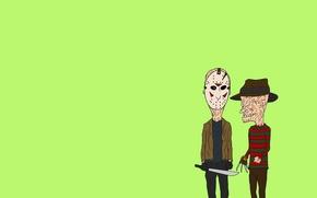 Picture minimalism, Jason Voorhees, the trick, Freddy Krueger, machete, Freddy Krueger, Beavis and Butt-head, Beavis and …