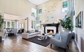Picture design, style, sofa, furniture, Windows, interior, fireplace, mansion, living room