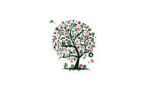 Wallpaper snowflakes, tree, branch, bird, toys, candle, minimalism, hearts, snowmen, socks, Santa Claus, deer, bag, dwarf, ...