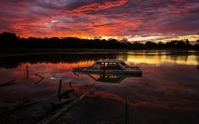 Picture machine, night, lake